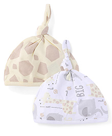 Mothercare Printed Beanies Pack Of 2 - White & Light Yellow