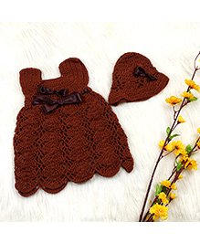 The Original Knit Hand Knitted Dress & Cap Set - Brown