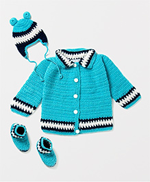 The Original Knit Set Of Sweater Cap & Booties Set - Blue