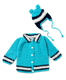 The Original Knit Sweater And Cap Set - Blue