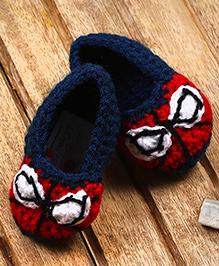 The Original Knit Crochet Booties - Red & Blue