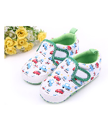 Alle Alle Car Print Canvas Shoes Style Booties - Green & White