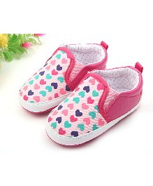Alle Alle Heart Printed Slip On Booties - Pink
