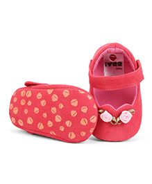 Ivee Baby Floral Anti Skid Soft Sole Booties - Tomato
