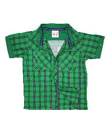 FS Mini Klub Half Sleeves Shirt Checks Print - Green