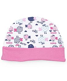 Babyhug Cap Bird Print - Pink White