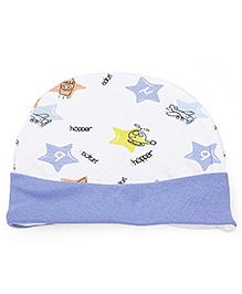 Babyhug Cap Star Print - Blue White