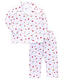 Babyhug Full Sleeves Night Suit Cupcake Print - White And Pink