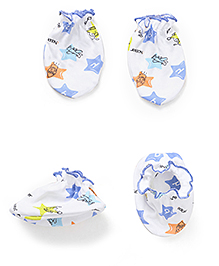 Babyhug All Over Star Print Mittens And Booties Set - White & Blue