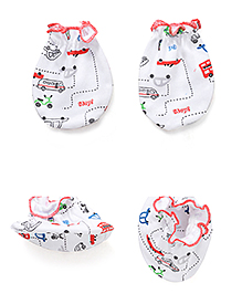 Babyhug All Over Vehicle Print Mittens And Booties Set - White & Red