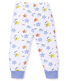 Babyhug Ribbed Hem Pajama Star Print - White Blue Yellow
