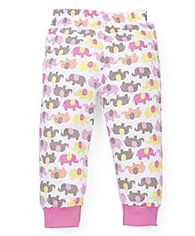 Babyhug Ribbed Hem Pajama Elephant Print - White Pink