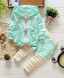 Dells World Bow & Cartoon Print Hooded Jacket With Legging - Green & Off White