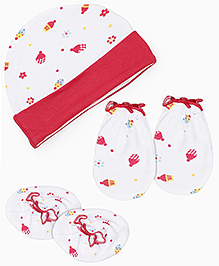 Babyhug Cap Mittens And Booties Set Multiprint - White Red