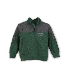 Lilliput Kids Dual Shade Full Sleeves Zippy Neck Sweatshirt - Green & Grey