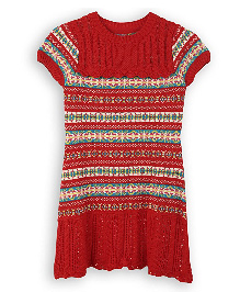 Lilliput Kids Short Sleeves Striped Classic English Tunic - Red