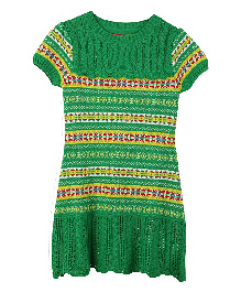 Lilliput Kids Short Sleeves Striped Classic English Tunic - Green