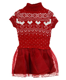 Lilliput Kids Short Sleeves Nordic Pattern Warm Tunic- Red