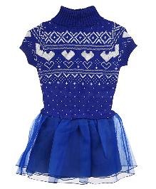 Lilliput Kids Short Sleeves Nordic Pattern Warm Tunic- Blue