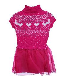 Lilliput Kids Short Sleeves Nordic Pattern Warm Tunic- Pink