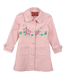 Lilliput Kids Full Sleeves Floral Embroidered Classic Overcoat - Pink