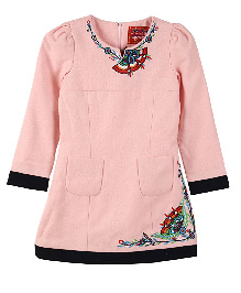 Lilliput Kids Full Sleeves Floral Embroidered Tunic - Rose Bud