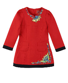 Lilliput Kids Full Sleeves Floral Embroidered Tunic - Red