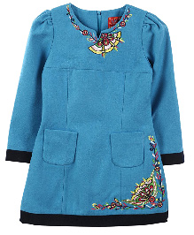 Lilliput Kids Full Sleeves Floral Embroidered Tunic - Blue