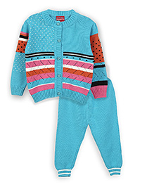 Lilliput Kids Full Sleeves Eclectic Pattern Cardigan With Trousers - Sky Blue