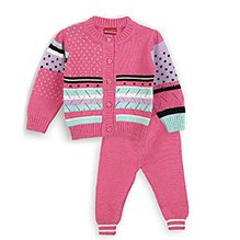 Lilliput Kids Full Sleeves Eclectic Pattern Cardigan With Trousers - Pink