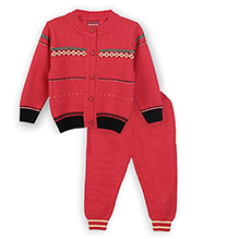 Lilliput Kids Full Sleeves Fence Pattern Cardigan With Trousers - Classic Red