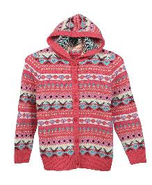 Lilliput Kids Full Sleeves Cupid Maze Hooded Cardigan - Pink