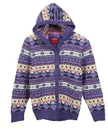 Lilliput Kids Full Sleeves Cupid Maze Hooded Cardigan - Purple