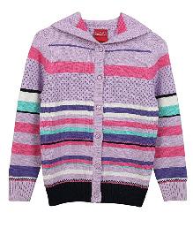 Lilliput Kids Full Sleeves Stripefest Hooded Cardigan - Purple