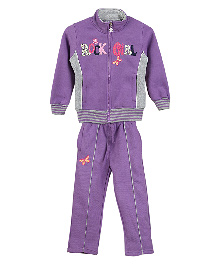 Lilliput Kids Full Sleeves Jacket And Track Pants - Purple