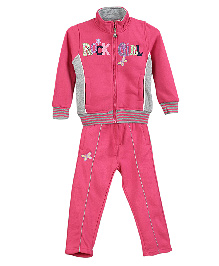 Lilliput Kids Full Sleeves Jacket And Track Pants - Pink