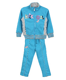 Lilliput Kids Full Sleeves Jacket And Track Pants - Blue