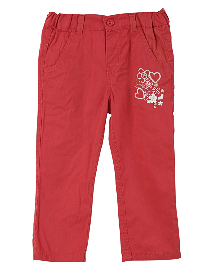 Lilliput Kids Full Length Embroidered Trousers - Red
