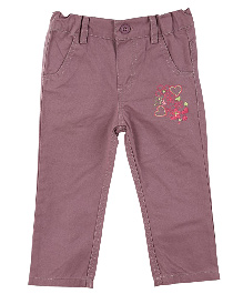 Lilliput Kids Full Length Embroidered Trousers - Purple