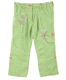 Lilliput Kids Full Length Floral Embroidered Cargo Pants - Green