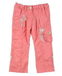 Lilliput Kids Full Length Floral Embroidered Cargo Pants - Pink