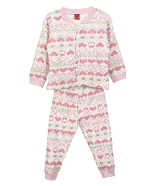 Lilliput Kids Full Sleeves Pixie Heart Design Cardigan And Trousers Set - Pink