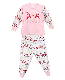 Lilliput Kids Full Sleeves Reindeer Design Jumper And Trousers Set - Pink