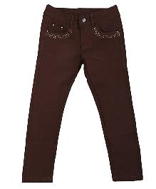 Lilliput Kids Full Length Embellished Jeggings - Brown