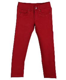 Lilliput Kids Full Length Embellished Jeggings - Deep Red
