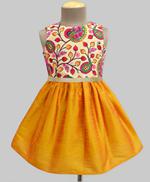 A.T.U.N Kashmir Garden Embroidered Dress - Yellow & Multicolour