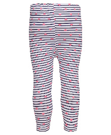Earth Conscious Organic Cotton Striped Leggings With Heart Print - Grey
