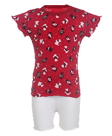 Earth Conscious Organic Flutter Sleeves Printed Top & Shorts Set - Red & White
