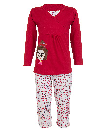 Earth Conscious Full Sleeves Organic Cotton Top And Printed Bottoms - Red & White