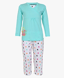 Earth Conscious Full Sleeves Organic Cotton Top And Printed Bottoms - Blue & White